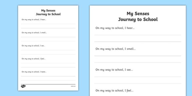 My Senses Journey to School Writing Activity Sheet, worksheet
