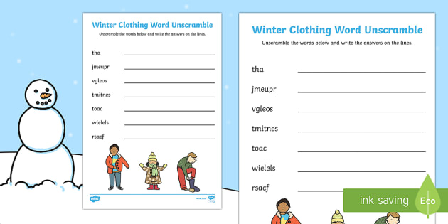 Winter Clothing Word Unscramble