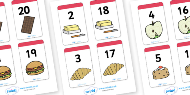 Number Bonds to 20 Matching Cards (Food) - Number Bonds, Matching Cards, Food Cards, Number Bonds to 20