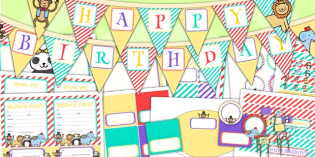 Animal Themed Birthday Party Pack - birthdays, parties, animals