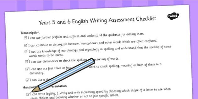 2014 Curriculum UKS2 Years 5 and 6 Writing Assessment Checklist