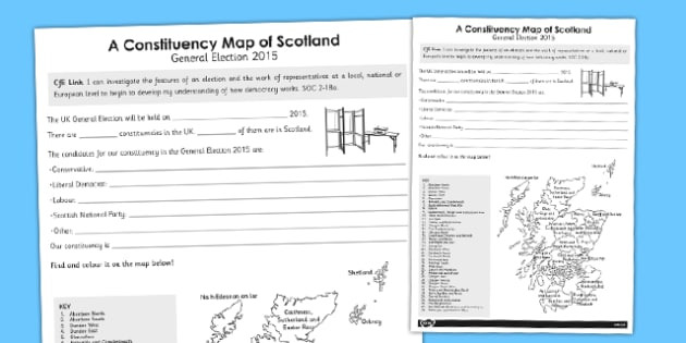 A Constituency Map of Scotland Worksheet - scotland, constituency