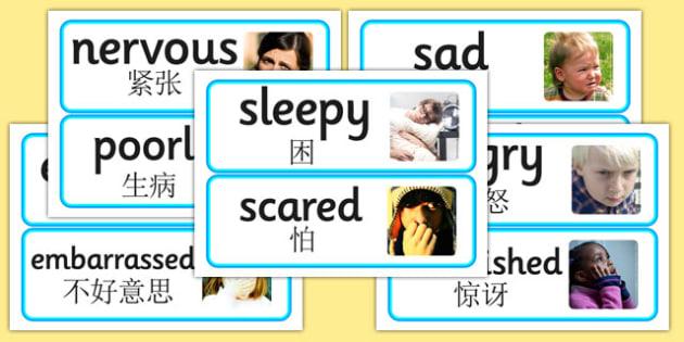 Large Detailed Emotions and Feelings Photo Word Cards Chinese Mandarin Translation - chinese mandarin, emotions
