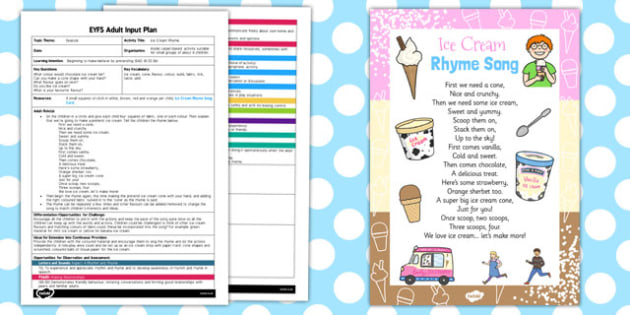 Ice Cream Rhyme EYFS Adult Input Plan and Resource Pack - pack
