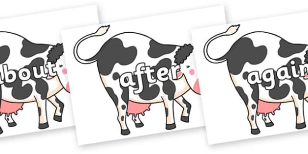 KS1 Keywords on Hullabaloo Cow to Support Teaching on Farmyard Hullabaloo - KS1, CLL, Communication language and literacy, Display, Key words, high frequency words, foundation stage literacy, DfES Letters and Sounds, Letters and Sounds, spelling