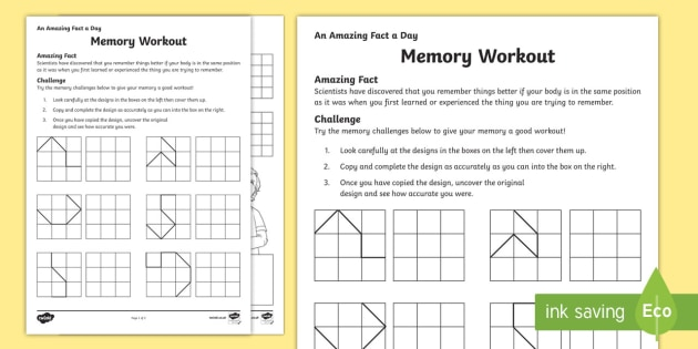 Memory Workout Activity Sheet
