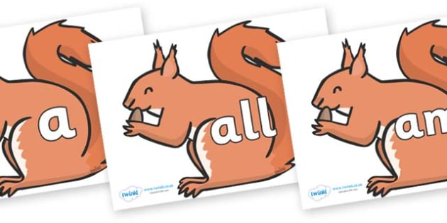 Foundation Stage 2 Keywords on Red Squirrels - FS2, CLL, keywords, Communication language and literacy,  Display, Key words, high frequency words, foundation stage literacy, DfES Letters and Sounds, Letters and Sounds, spelling