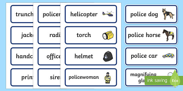 Police Role Play Word Cards - Police Station Role Play, police, policeman, police station resources, policewoman, police car, police van, handcuffs, criminal, people who help us, role play, display, poster, Word cards, Word Card, flashcard, flashcard
