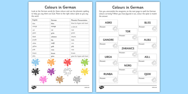 German Colours Worksheet - german, colours, worksheet, languages, german language