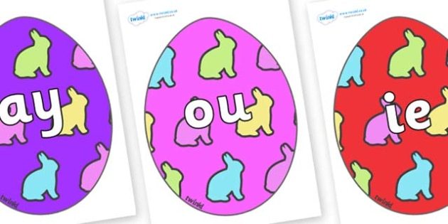 Phase 5 Phonemes on Easter Eggs (Rabbits) - Phonemes, phoneme, Phase 5, Phase five, Foundation, Literacy, Letters and Sounds, DfES, display