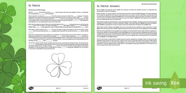 Saint Patrick Cloze Activity Fifth and Sixth Class - gaeilge, Saint Patrick, cloze, reading, religion, Ireland