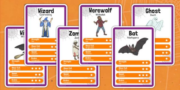 Halloween Character Card Game Polish Translation - polish, halloween, character, card game, top trumps, festival, celebration