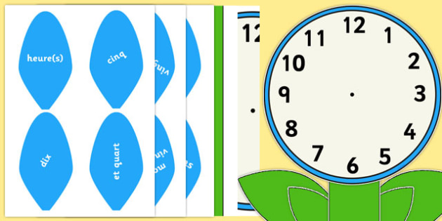 Analogue Clock Flower Labels Words French - french, time, maths, classroom, visual aid, numeracy
