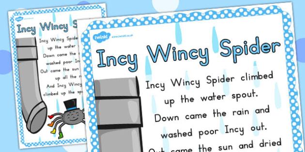 Incy Wincy Spider Nursery Rhyme Poster A4 - australia, Incy Wincy