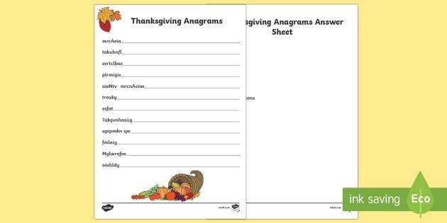 Thanksgiving Anagrams Activity Sheet