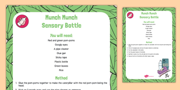 Munch Munch Sensory Bottle to Support Teaching on The Very Hungry Caterpillar - tadpole, frogspawn, life cycle, eric carle, senses, caterpillar, hungry, spring, minibeasts, eyfs, early years