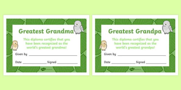 Grandparents' Day Certificate