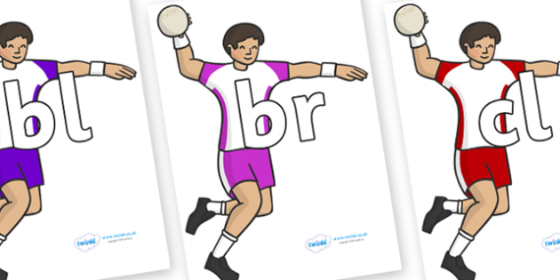 Initial Letter Blends on Handball - Initial Letters, initial letter, letter blend, letter blends, consonant, consonants, digraph, trigraph, literacy, alphabet, letters, foundation stage literacy