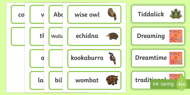 Tiddalick The Frog Word Cards-Australia