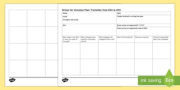 Transition Sheet to KS5 - KS4 Transition KS5