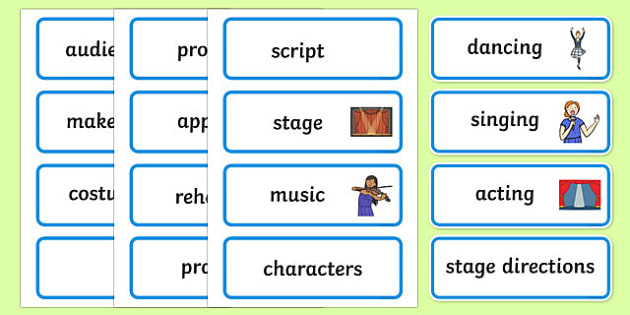 Performance Word Cards - performance, display, poster, sign, banner, dancing, singing, acting, script, stage, music, costume, make-up, prop
