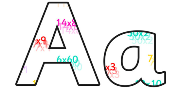 Multiplication Lowercase Display Lettering - multiplication, multiplication display lettering, multiplication display letters, multiplication alphabet