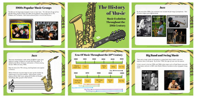 Musical Styles Through the 20th Century PowerPoint - musical