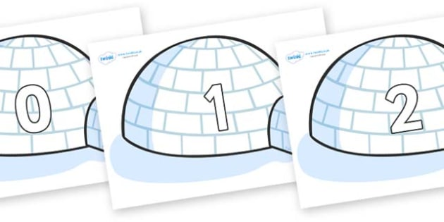 Numbers 0-100 on Igloos - 0-100, foundation stage numeracy, Number recognition, Number flashcards, counting, number frieze, Display numbers, number posters