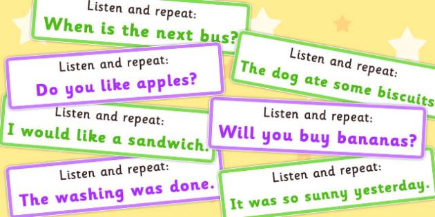 Listen and Repeat 4-5 Word Length Sentence Cards Set 2 - listen