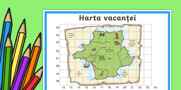 Harta vacanței Planșă de lucru - inceput de an scolar, vacanta, septembrie, toamna, prima zi de scoala, scoala, activitati, materiale romana