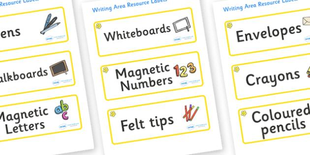 Buttercup Themed Editable Writing Area Resource Labels - Themed writing resource labels, literacy area labels, writing area resources, Label template, Resource Label, Name Labels, Editable Labels, Drawer Labels, KS1 Labels, Foundation Labels, Foundat
