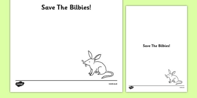 Australia - Save the Bilbies Persuasive Poster Template - australia, save, bilbies, easter, persuasive, poster, display