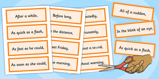 Fronted Adverbial Openers Cards - fronted, adverbial, cards