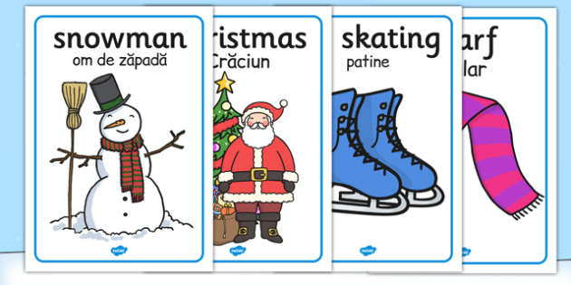 Winter Topic Display Posters EAL Romanian Translation - romanian