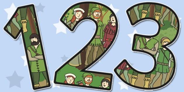 Robin Hood Themed A4 Display Numbers - display, numbers, robin
