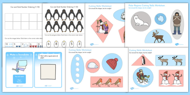 Winter Themed Scissor Skills Pack - winter, scissor, skills, pack