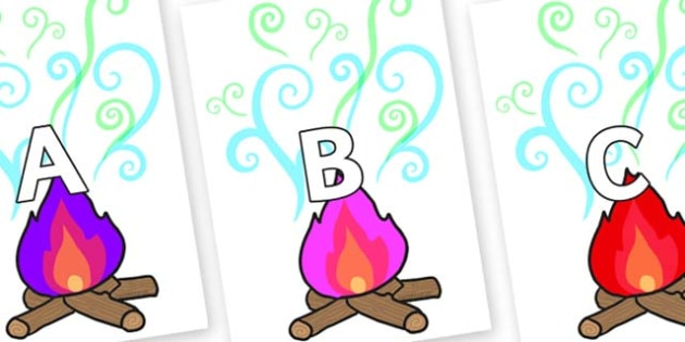 A-Z Alphabet on Magic Fire - A-Z, A4, display, Alphabet frieze, Display letters, Letter posters, A-Z letters, Alphabet flashcards