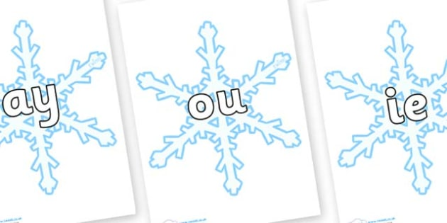 Phase 5 Phonemes on Snowflakes (New) - Phonemes, phoneme, Phase 5, Phase five, Foundation, Literacy, Letters and Sounds, DfES, display