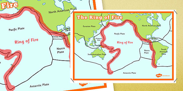 The Ring of Fire Map Poster - the ring of fire, map, poster, display poster, display