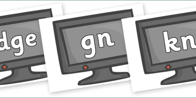Silent Letters on Computer Monitors - Silent Letters, silent letter, letter blend, consonant, consonants, digraph, trigraph, A-Z letters, literacy, alphabet, letters, alternative sounds