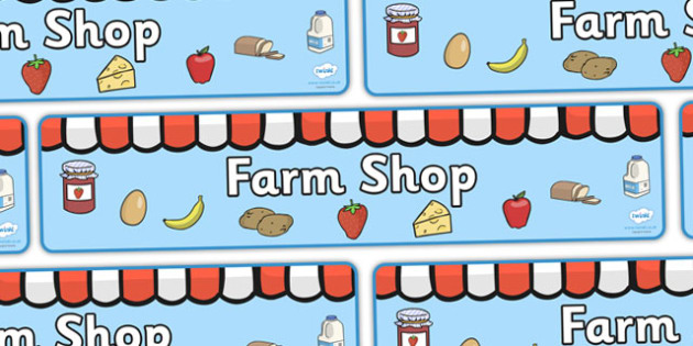 Farm Shop Display Banner (Scene) - Farm shop display, banner, poster, shop, farm, pig, cow, chicken, goat, tractor, farmer, chicken, goat, sheep, hay, milk, eggs