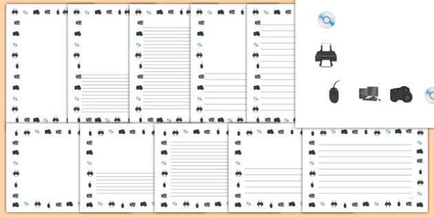 ICT Page Borders - ICT, information and communications technology, computer, page border, border, writing template, writing aid, writing, laptop, monitor, keyboard, mouse, pointer, arrows, backspace, enter, control, Caps Lock