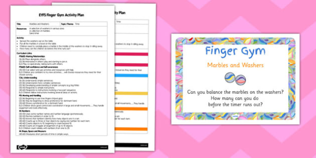 EYFS Marbles and Washers Finger Gym Activity Plan and Prompt Card Pack