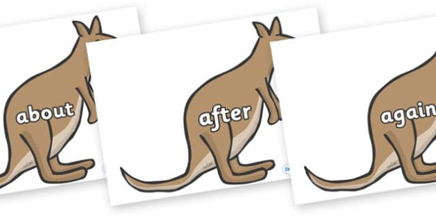 KS1 Keywords on Kangaroos - KS1, CLL, Communication language and literacy, Display, Key words, high frequency words, foundation stage literacy, DfES Letters and Sounds, Letters and Sounds, spelling