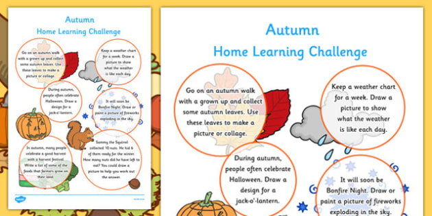 EYFS Autumn Home Learning Challenge Sheet Reception FS2 - homework, term 1, early years, activity, games, worksheet, reception