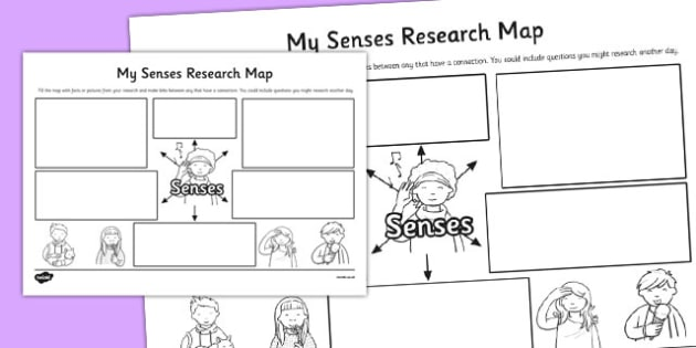 My Senses Research Map Template - senses, research, map, template