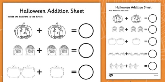 Halloween Addition Worksheet - halloween, addition, addition worksheet, halloween worksheet, adding, themed addition worksheet, numeracy, maths, add