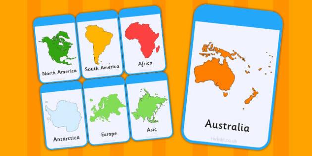 Continent Flash Cards - continent, flash cards, cards, flashcards