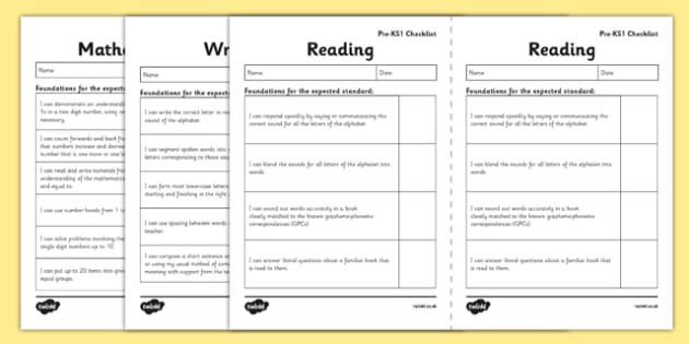 Interim Pre-Key Stage 1 Standards for English and Maths I Can Checklists - interim, pre, keystage 1, standards, english, maths, i can, checklist