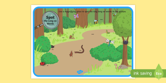 Phase 3 Long oo Words Minibeasts Scene Magnifying Glass Activity Sheet, worksheet